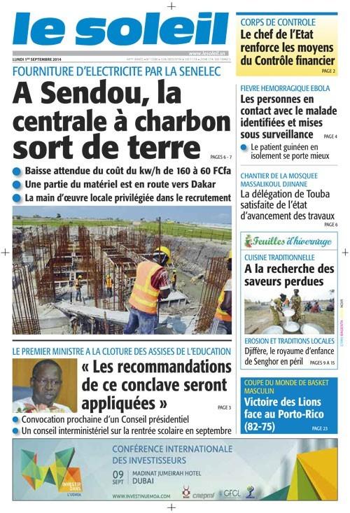 A la Une du Journal Le Soleil du lundi 01 septembre 2014