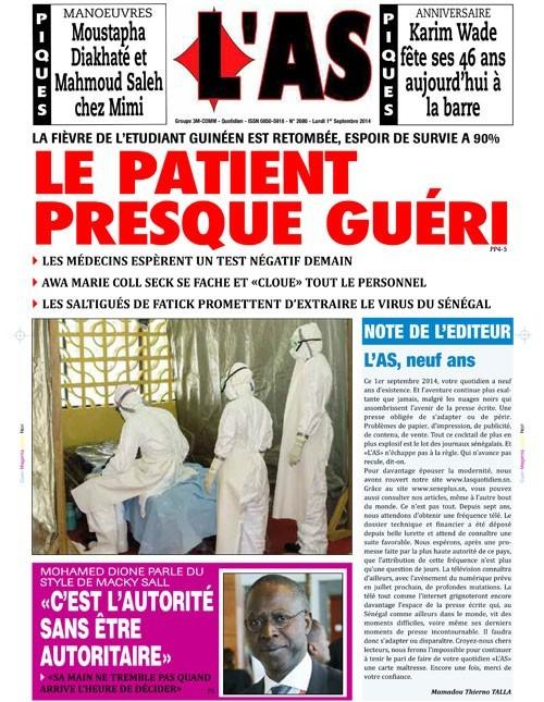A la Une du Journal L'As du lundi 01 septembre 2014