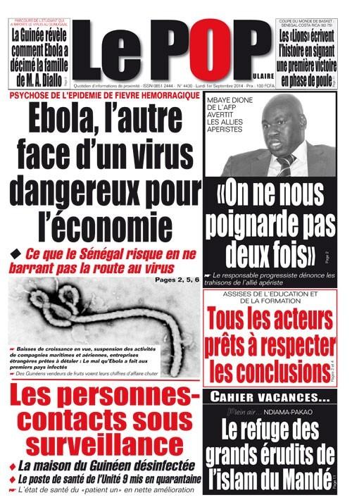 A la Une du Journal Le Populaire du lundi 01 septembre 2014