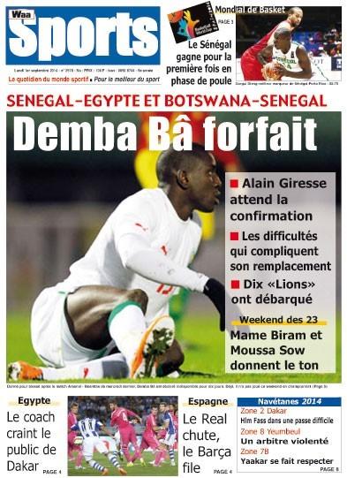 A la Une du Journal Waa Sports du lundi 01 septembre 2014