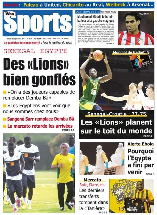 A la Une du Journal Waa Sports du mardi 02 septembre 2014