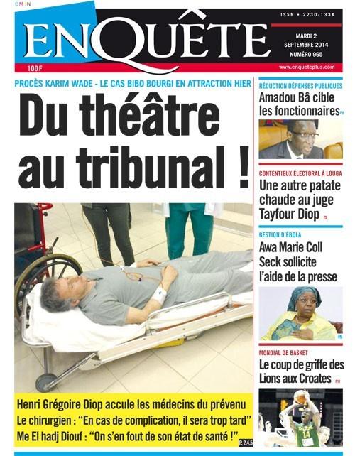A la Une du Journal EnQuête du mardi 02 septembre 2014