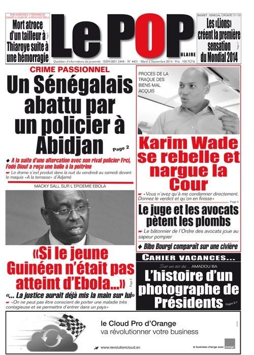 A la Une du Journal Le Populaire du mardi 02 septembre 2014