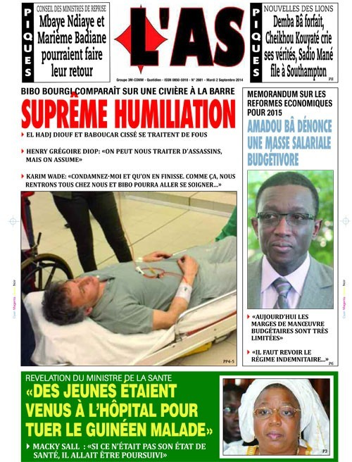 A la Une du Journal L'As du mardi 02 septembre 2014
