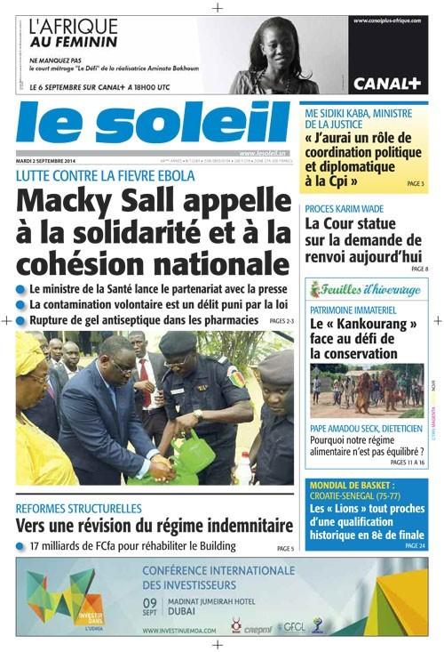 A la Une du Journal Le Soleil du mardi 02 septembre 2014