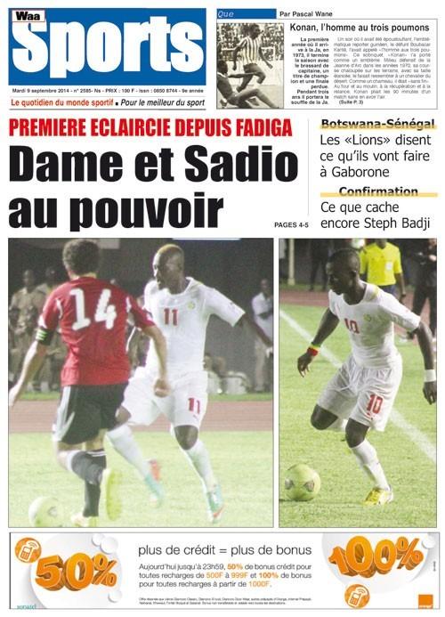 A la Une du Journal Waa Sports du mardi 09 septembre 2014
