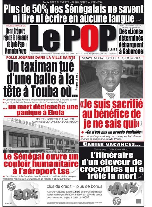 A la Une du Journal Le Populaire du mardi 09 septembre 2014