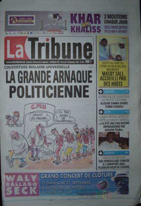 A la Une du Journal La Tribune du mercredi 17 septembre 2014