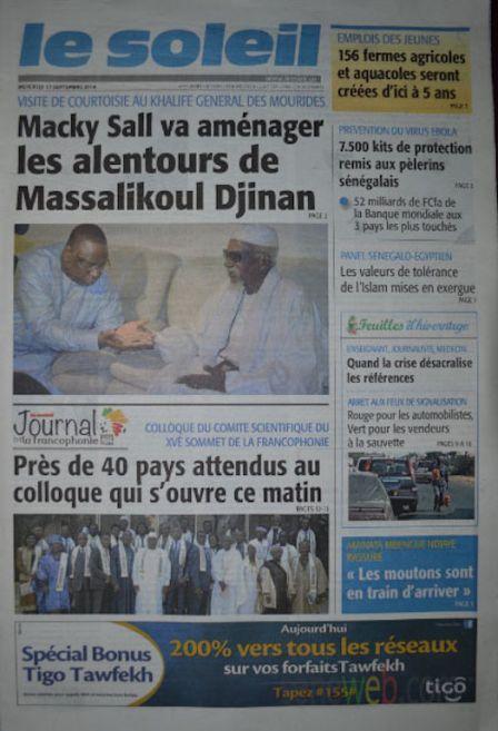 A la Une du Journal Le Soleil du mercredi 17 septembre 2014