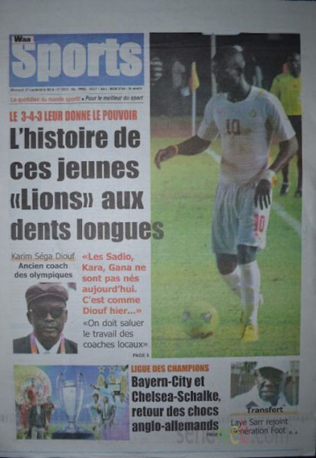 A la Une du Journal Waa Sports du mercredi 17 septembre 2014