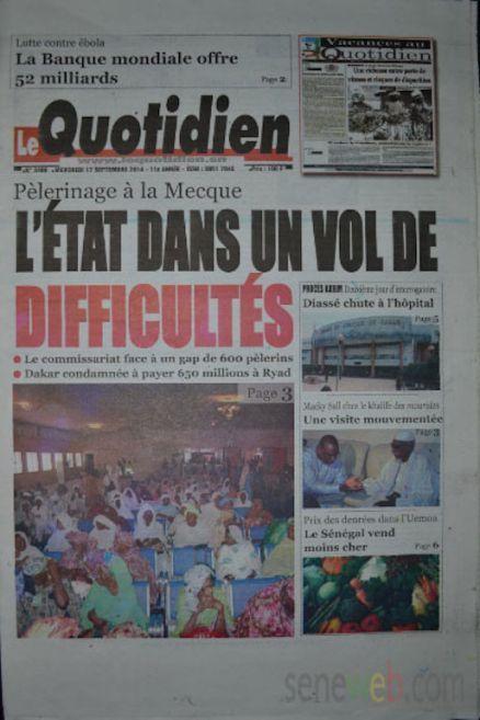 A la Une du Journal Le Quotidien du mercredi 17 septemnre 2014
