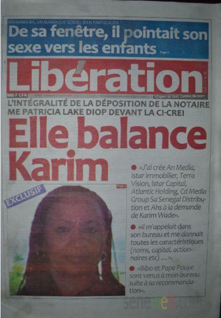 A la Une du Journal Le  Libération du mercredi 17 septembre 2014