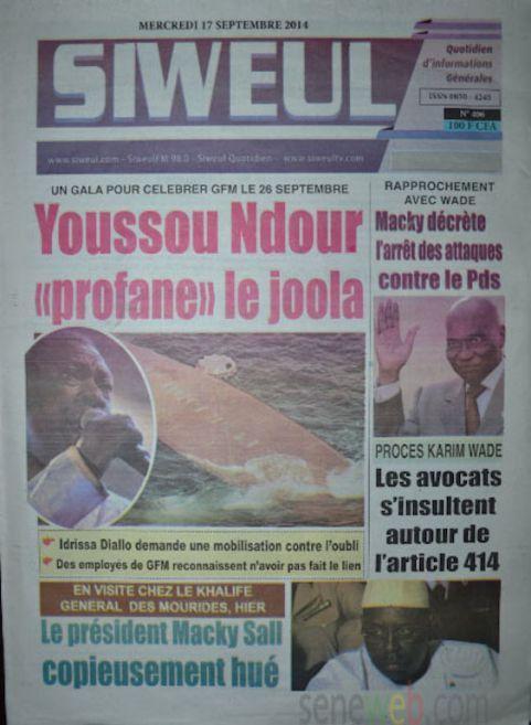 A la Une du Journal Siweul du mercredi 17 septembre 2014