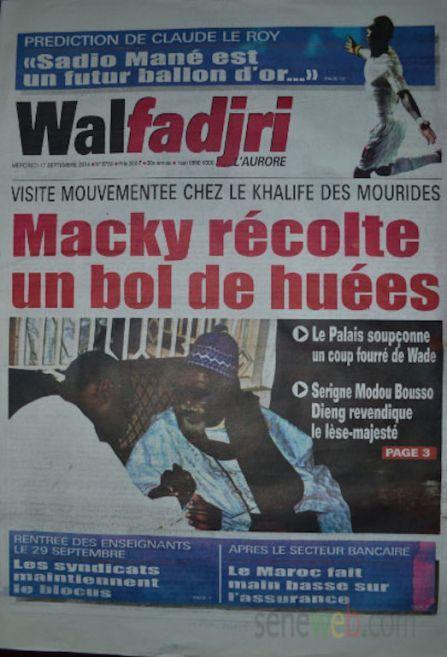 A la Une du Journal Walfadjri du mercredi 17 septembre 2014
