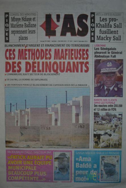 A la Une du Journal L'As du jeudi 18 septembre 2014