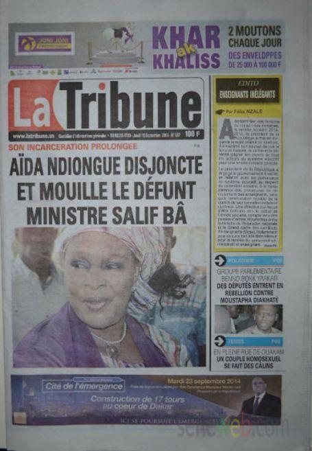 A la Une du Journal La Tribune du jeudi 18 septembre 2014