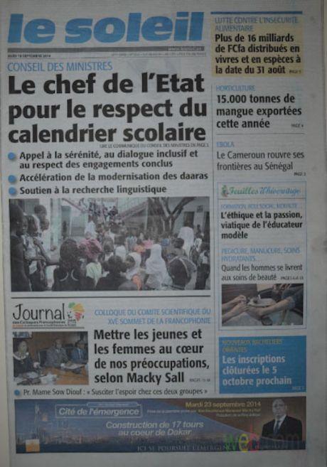 A la Une du Journal Le Soleil du jeudi 18 septembre 2014