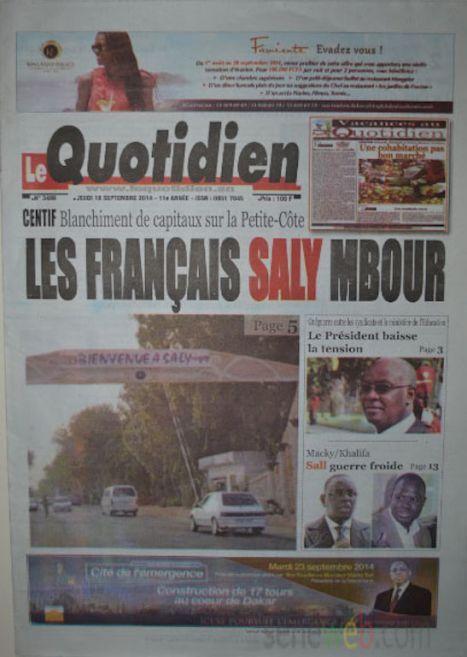 A la Une du Journal Le Quotidien du jeudi 18 septemnre 2014
