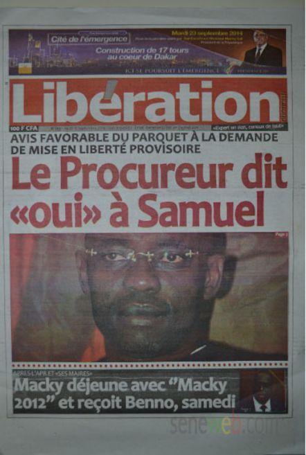 A la Une du Journal Le  Libération du jeudi 18 septembre 2014