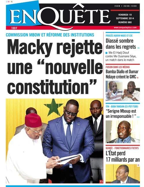 A la Une du Journal EnQuête du vendredi 19 septembre 2014