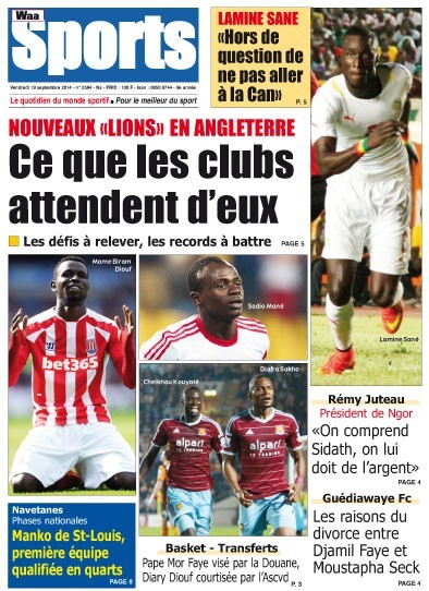 A la Une du Journal Waa Sports du vendredi 19 septembre 2014