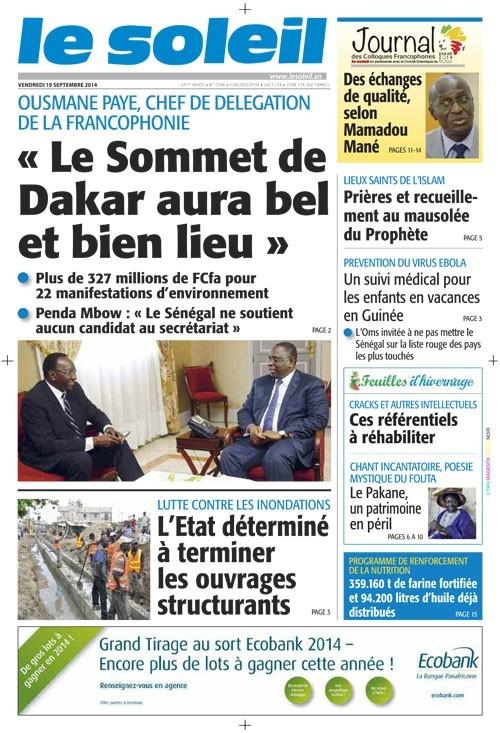 A la Une du Journal Le Soleil du vendredi 19 septembre 2014
