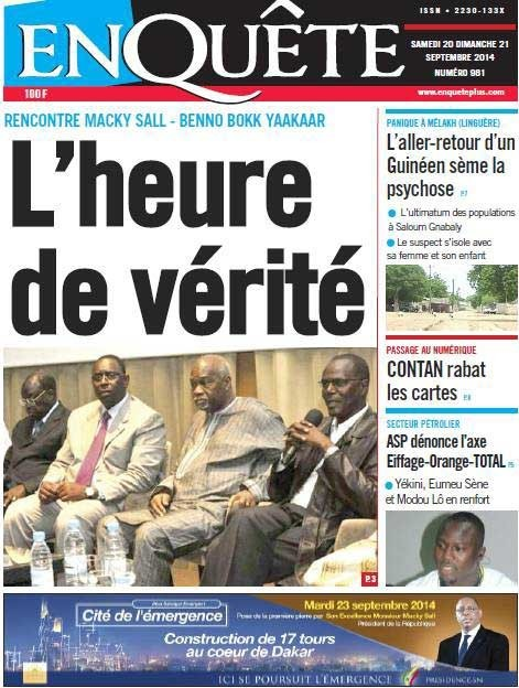 A la Une du Journal EnQuête du samedi 20 septembre 2014