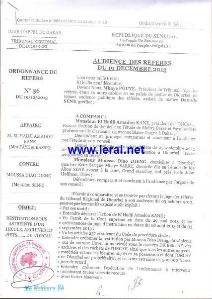 Exclusif ! Affaire Amadou Kane/Moussa Diao Dieng : Le Président de l'ONCAV débouté puis condamné aux dépens (documents)