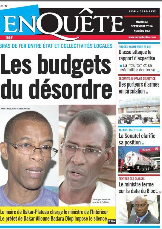 A la Une du Journal EnQuête du mardi 23 septembre 2014