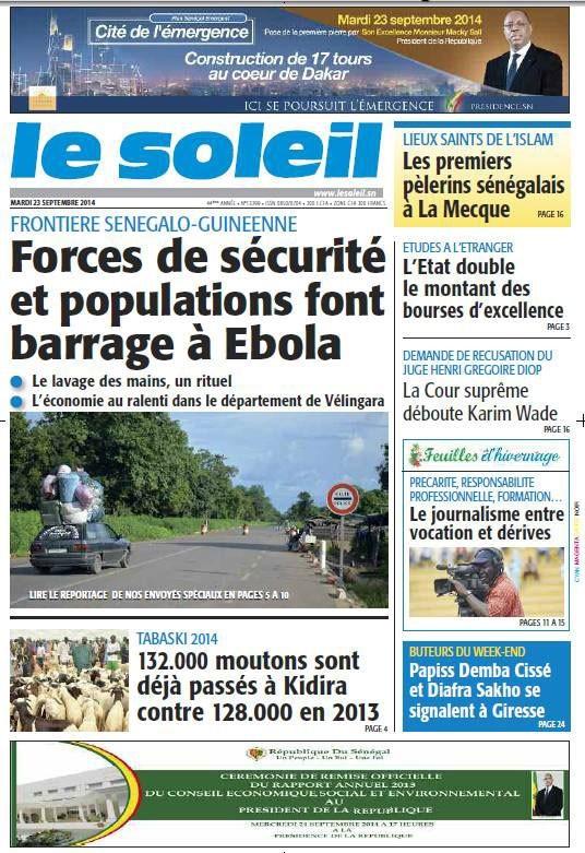 A la Une du Journal Le Soleil du mardi 23 septembre 2014