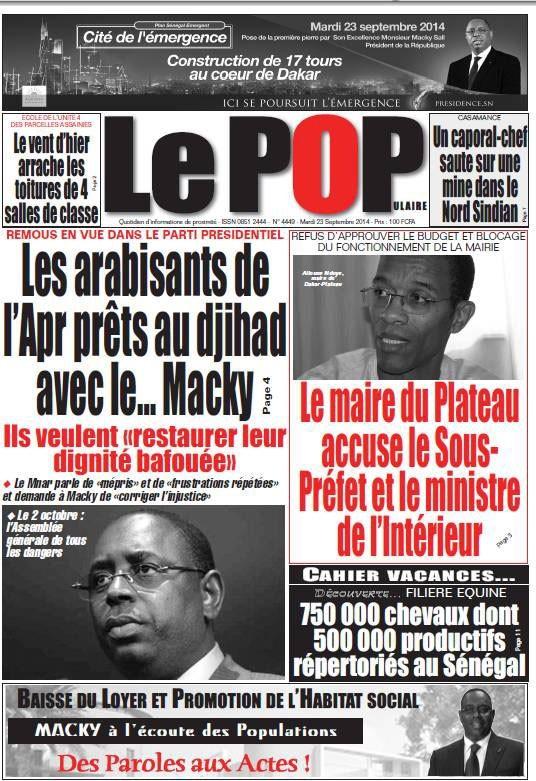 A la Une du Journal Le Populaire du mardi 23 septembre 2014