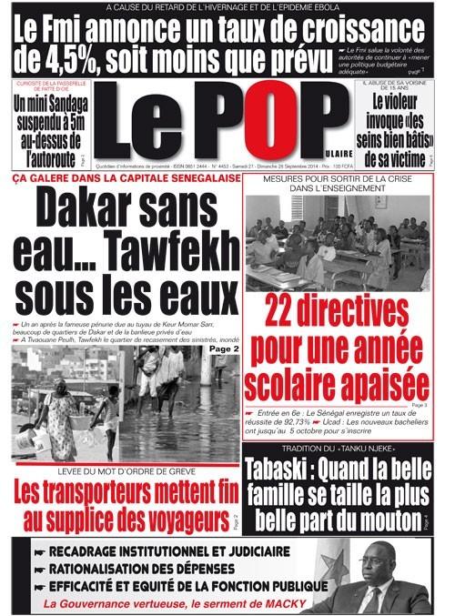 A la Une du Journal Le Populaire du samedi 27 septembre 2014