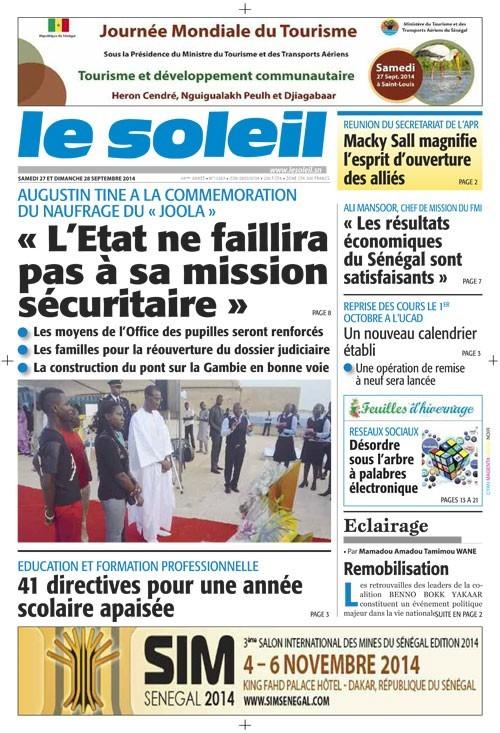 A la Une du Journal Le Soleil du samedi 27 septembre 2014