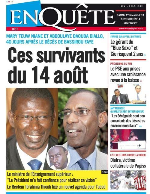 A la Une du Journal EnQuête du samedi 27 septembre 2014