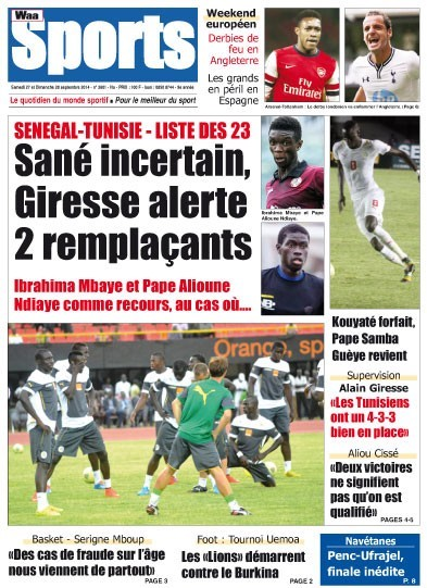 A la Une du Journal Waa Sports du samedi 27 septembre 2014