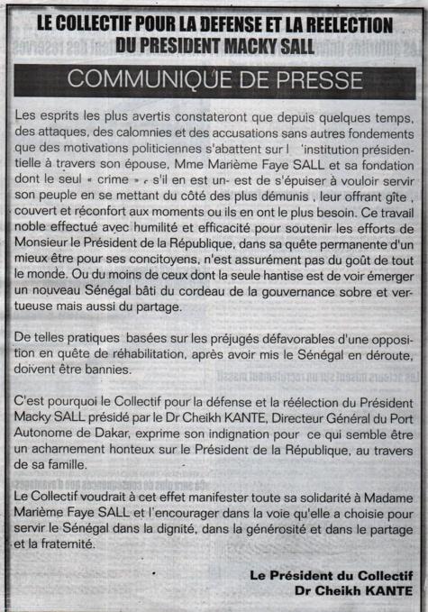 Le DG du Port se paie une page entière dans un journal pour défendre Marième Faye Sall