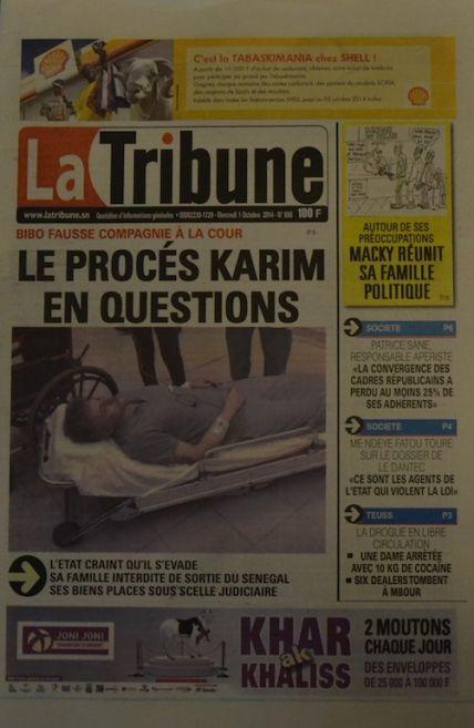 A la Une du Journal La Tribune du mercredi 01 octobre 2014