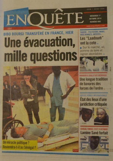 A la Une du Journal EnQuête du mercredi 01 octobre 2014