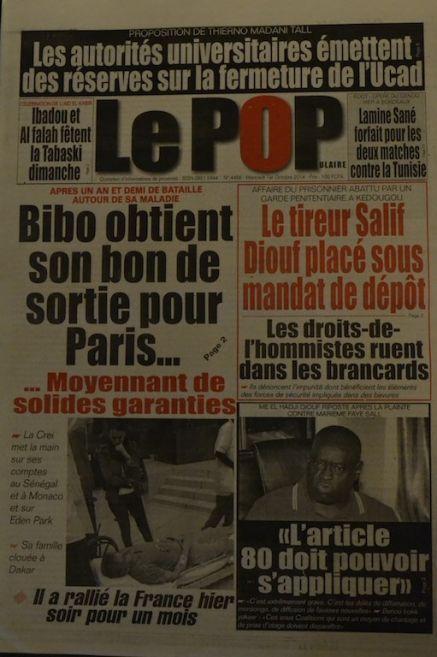 A la Une du Journal Le Populaire du mercredi 01 octobre 2014