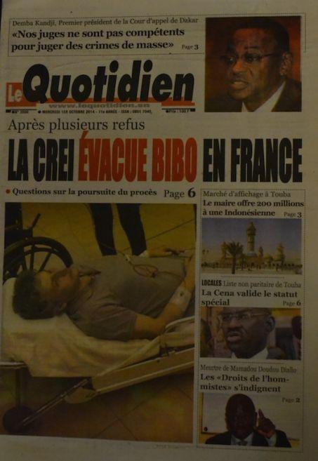 A la Une du Journal Le Quotidien du mercredi 01 octobre 2014