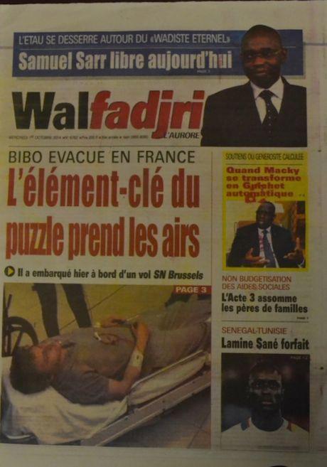 A la Une du Journal Walfadjri du mercredi 01 octobre 2014