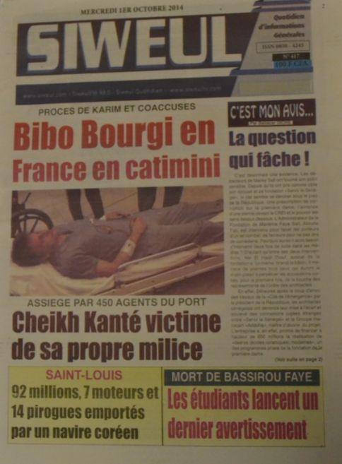 A la Une du Journal Siweul du mercredi 01 octobre 2014