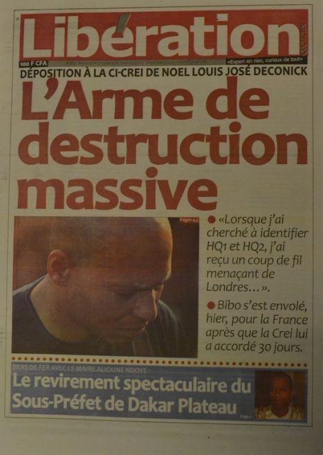 A la Une du Journal Libération du mercredi 01 octobre 2014