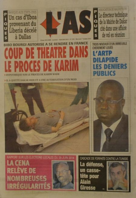 A la Une du Journal L'As du mercredi 01 octobre 2014