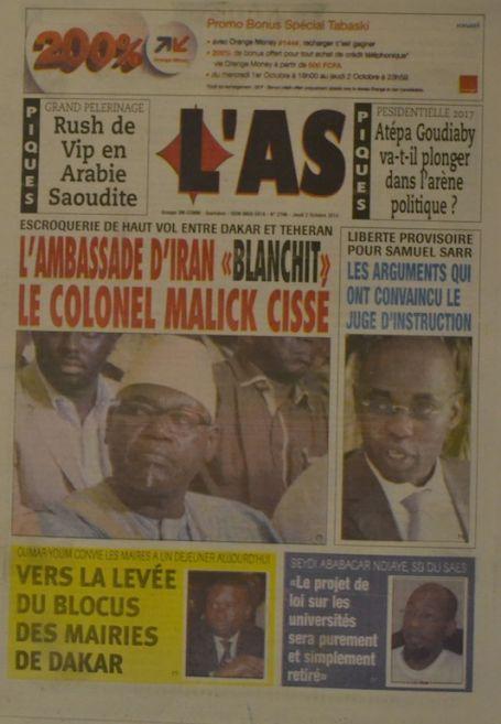 A la Une du Journal L'As du jeudi 02 octobre 2014