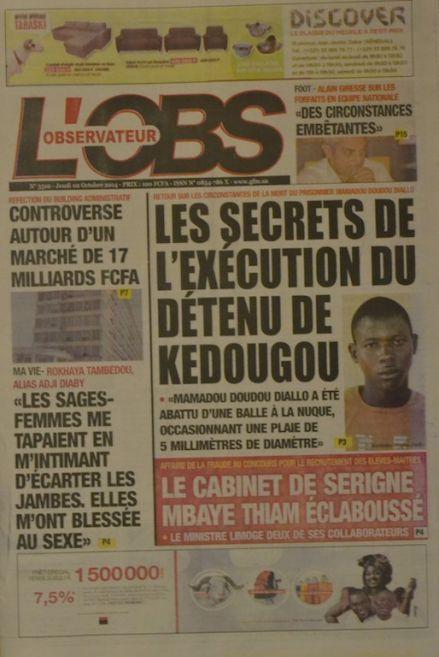 A la Une du Journal L'Observateur du jeudi 02 octobre 2014