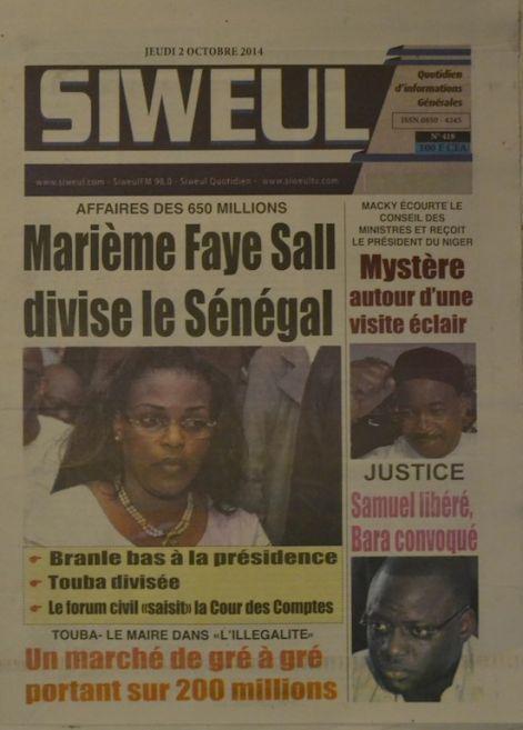 A la Une du Journal Siweul du jeudi 02 octobre 2014