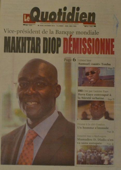 A la Une du Journal Le Quotidien du jeudi 02 octobre 2014