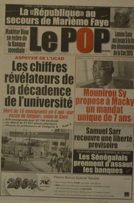 A la Une du Journal Le Populaire du jeudi 02 octobre 2014