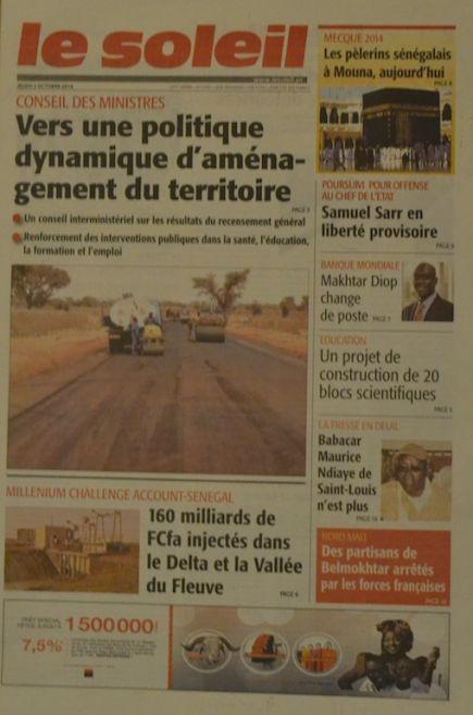 A la Une du Journal Le Soleil du jeudi 02 octobre 2014